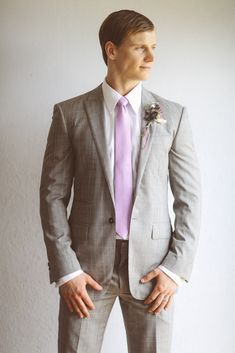 Groom's Attire | See more wedding #inspiration on SMP: http://www.StyleMePretty.com/canada-weddings/ontario/toronto/2014/01/24/lavender-wedding-inspiration-at-weirs-lane-lavender-farm/ Purple Tree Photography