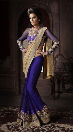 Royal Blue Net Golden Georgette Pallu Designer Saree With Blouse