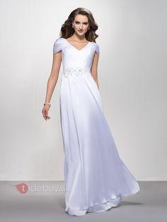 Elegant V-Neck Appliques Sequins A-Line Floor-Length Cap Sleeves Evening  Dress 1382ba32b7e0