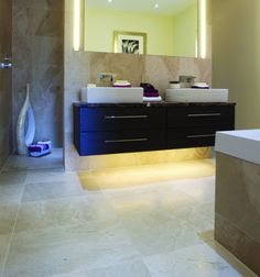 Glacier Limestone in a honed finish. These limestone tiles are almost as hard as marble, and similarly smooth and chic – especially with a honed finish.