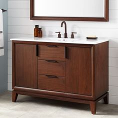 """48"""" Talyn Mahogany Vanity for Rectangular Undermount Sink - Light Walnut"""
