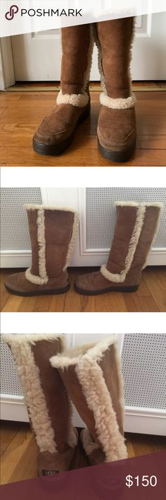 """Ugg Australia sunburst boot size 8 chestnut Twinface sheepskin with custom cuffing option foam-lined, removable/replaceable sheepskin insole and slip-resistant outsole with supportive heel and forefoot cushioning. 17"""" shaft circumference Approx. boot shaft height: 12½"""" 1"""" heel height Sheepskin trim on all upper seams UGG Shoes Winter & Rain Boots"""