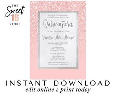 Sweet Sixteen Invitations Rose Gold Glitter and Blush Pink Printable File, Sweet 16 Printable Invita Sweet Sixteen Invitations, Pink Invitations, Elegant Invitations, Birthday Party Invitations, Wedding Invitations, Invitation Cards, Quinceanera Invitations, Quinceanera Decorations, Quinceanera Party