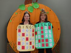 """Halloween costume I made...so appropriate for working as Activity Director at Nursing Home!!...even have a Bingo Ball atop our heads...and I made """"quarter"""" earrings...lol...one of my residents FAV activity!!"""
