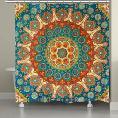 """Beautiful spice colors and intricate designs make up the """"Spice Mandala Shower Curtain"""" All of our products are digitally printed to create crisp, vibrant colors and images. Made to order in the USA,"""