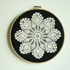 "Doily Embroidery Hoop Art - Snowflake at Night - Framed Wall Art - 8"" hoop - Wall Hanging for Home decoration and gifts"