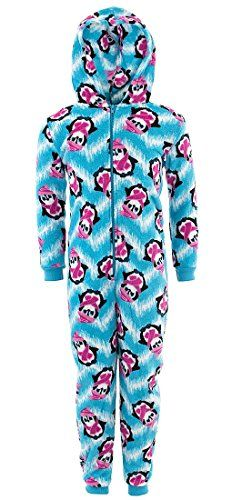 Sweet N Sassy Girls Cat White Hooded Micro Fleece One-Piece Pajamas