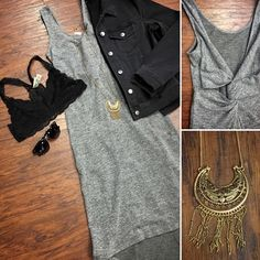 Monochromatic Shades 🔙🍾 •Bralette ($24) •Denim Jacket ($54) •Necklace ($24) •Dress •Sunglasses ($12) ///Pair with booties; peek toe heels; black heels; scarf; light denim for alternative looks///  . For immediate assistance or to ORDER call ☎️701-356-5080 (We Ship 📦