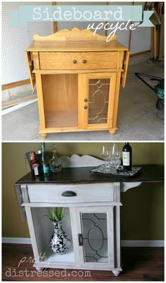 Sideboard w/ Leaves - Before and after. For this makeover, I used a 2:1 mix of Annie Sloan Chalk Paint in Paris Grey and Old White followed up with clear and dark wax. The top was stained with Minwax Polyshades in Espresso.