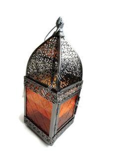 MOROCCAN ORANGE GLASS & SILVER METAL CANDLE TEA LIGHT HOLDER INDOOR OUTDOOR