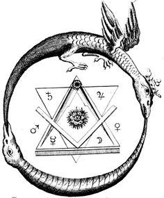 """The Ouroboros (or Uroborus) is an ancient symbol depicting a serpent or dragon eating its own tail. The name originates from within Greek language; οὐρά (oura) meaning """"tail"""" and βόρος (boros) meaning """"eating"""", thus """"he who eats the tail"""". The Ouroboros Masonic Symbols, Ancient Symbols, Freemason Symbol, Masonic Art, Mayan Symbols, Viking Symbols, Egyptian Symbols, Viking Runes, Eternal Return"""