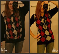 diy home sweet home: Baggy hubby sweater turned chic.