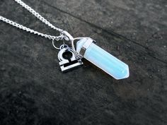 CYBER MONDAY SALE: Use code CYBER10 to get 10% off! Expires 12/02. $24.99 Opal Quartz Necklace //  Zodiac Charm Gemstone Pendant by qwelqwel