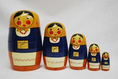RARE Russian Nesting Dolls Poland Matryoshka Folk Art Wood Wooden Figures Toy | eBay