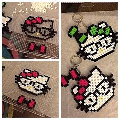 Hello Kitty keychain  perler beads by Val Hardy