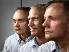 The crew of Apollo 11, the first men to walk on the moon - Left to right is Michael Collins, Buzz Aldrin, and Neil Armstrong, year unknown.