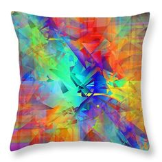 """Colorful Crash 9 Throw Pillow by Chris Butler.  Our throw pillows are made from 100% spun polyester poplin fabric and add a stylish statement to any room.  Pillows are available in sizes from 14"""" x 14"""" up to 26"""" x 26"""".  Each pillow is printed on both sides (same image) and includes a concealed zipper and removable insert (if selected) for easy cleaning."""