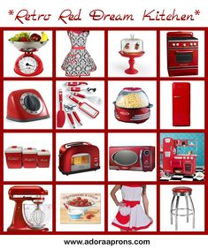 the most adorable vintage kitchen complete with red retro accents red Kitchen Fan, Aqua Kitchen, Red Kitchen Decor, Turquoise Kitchen, Cute Kitchen, Kitchen Themes, Vintage Kitchen, 1950s Kitchen, Kitchen Stuff