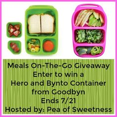 Meals On-The-Go Giveaway! Enter to win a Hero and Bynto Container in your choice of color from Goodbyn!