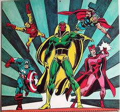 Vision front and centern on Avengers month April 1975 Marvel Calendar by giantsizegeek, via Flickr