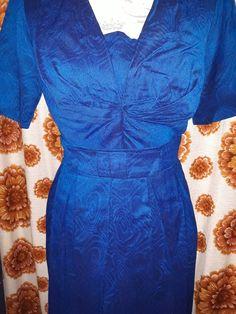 Vintage dress for sale 50s blue.  Vintage bomullsklänning från 50 talet blå.