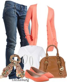 """No. 164 - Waiting for spring"" by hbhamburg on Polyvore -- love the cardi and scarf the most. Change up bottoms for office look"