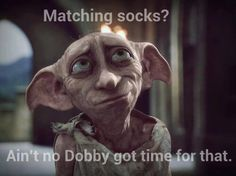 Dobby was a young House-Elf in the Harry Potter series. He protected Harry Potter who help him become a free elf. Dobby Harry Potter, Harry Potter Tumblr, Harry Potter Love, Harry Potter World, Dobby Elfo, Expecto Patronum Harry Potter, Film D'action, Funny P, Funny Memes