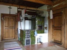 bydlení Kitchen Stove, Inside Outside, Cottage Homes, Country Kitchen, Indoor, Wood Burning, Fireplaces, Houses, Inspiration