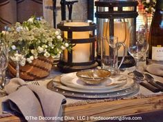 Golden Fall Thanksgiving Table Decorations | TheDecoratingDiva.com