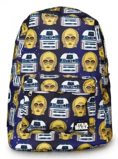 """Star Wars R2-D2 & C3PO"" Backpack by Loungefly (Blue/Gold/White) #inkedshop #r2d2 #bluegoldwhite #starwars #backpack #bookbag"
