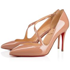 JUMPING PATENT 85 Nude Patent Calfskin - Women Shoes - Christian... (1,030 CAD) ❤ liked on Polyvore featuring shoes, pumps, mirror shoes, slip on pumps, patent leather shoes, nude patent leather pumps and christian louboutin