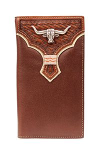 Nocona Rodeo Genuine Leather Tooled Western Men's Wallet w/Longhorn Concho-N5483602