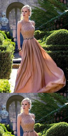 oral Long Chiffon Lace Floor-length Round Prom Dresses With Beads,Evening Party Dresses,PDY0261