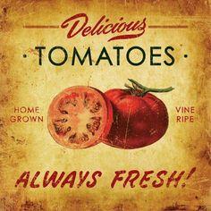 Vintage Labels Paulo Viveiros: retro / Tomato sign for my kitchen. Vintage Labels, Vintage Signs, Vintage Images, Vintage Ideas, Vintage Prints, Vintage Posters, Vegetable Prints, Vintage Seed Packets, Lemon Detox