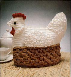 tea cozy crochet pattern, vintage nesting  hen crochet pattern, handmade gift, crochet chicken tea cozy pattern