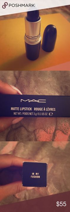 """Mac cosmetics limited edition matte black lipstick Brand new! MAC cosmetics matte black lip stick in the shade """"in my fashion"""". Very trendy right now! Creamy matte texture; long wearing; limited edition. MAC Cosmetics Makeup Lipstick"""