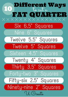 10 ways to cut a fat quarter at U Create