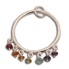 Well being Seven Chakra Pendant with Gemstones Sterling Silver