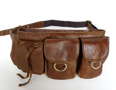 Vintage Leather Waist Pack   note: grommets with cinch strings & placement of the D-rings
