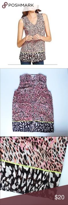 Cabi Sleeveless Animal Print Button Down Blouse Cabi Sleeveless Animal Print Button Down Blouse. Size Small. Lightweight. Excellent preowned condition. CAbi Tops Blouses