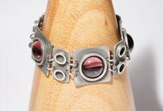 Sale - Bent Larsen Bracelet - Modernist Pewter  -  1960's Denmark - Aubergine Purple  - Mid Century Modern-  Signed