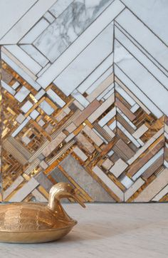 'Inspired by Delaunay' Kate Jessup, Aragona, Seattle Geometric mosaic tiles create a stunning wall piece.