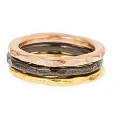 LUXURIA - NATALIA: Three Tone Hammered Stackable Ring Set