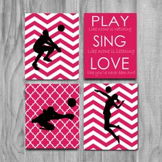 SALE-Personalized Volleyball Wall Art- Buy as a 4 piece set and save! All colors can be personalized just ask. Limited time only get all 4 8x10s