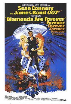 Diamonds are forever poster (1971). Indicações: som.  Duas estrelas. Bom filme apenas para quem gosta muito do 007.