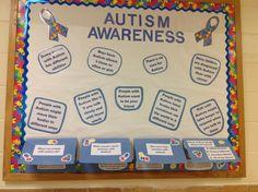 Autism Awareness Bulletin Board Class Bulletin Boards, Classroom Board, Autism Classroom, Special Education Classroom, Classroom Ideas, Autism Awareness Month, Disability Awareness, Science Education, Health Education