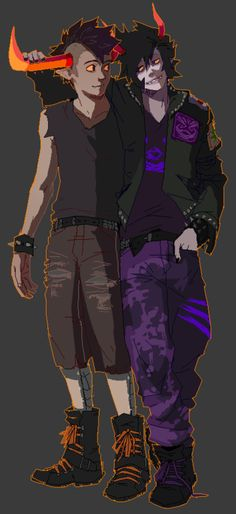 Gamzee and Tavro2.<<<Love those outfits tho. Especially Gamzee's.
