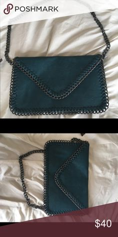 Real envelope bag/clutch Teal envelope purse or can be used as a clutch great condition never used Bags Shoulder Bags