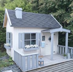 Simple and sweet Cubby Houses, Fairy Houses, Play Houses, Wood Playhouse, Playhouse Outdoor, Wendy House, Outside Living, Backyard For Kids, Cabana