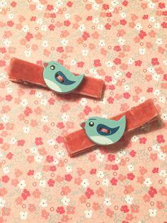 Pair of Little Bird Hair Barrettes Clips Blue on Pink Velvet Baby, Toddler, Kids…